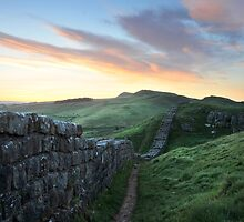 Sunrise over Hadrian's Wall at Caw Gap by Joan Thirlaway