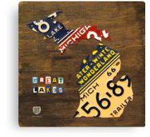 Michigan License Plate Map Canvas Print
