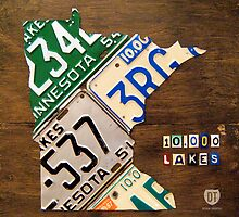 Minnesota License Plate Map Artwork by designturnpike
