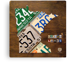 Minnesota License Plate Map Artwork Canvas Print