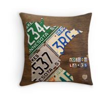 Minnesota License Plate Map Artwork Throw Pillow