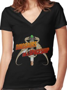 Dinosaurs on a Spaceship Women's Fitted V-Neck T-Shirt