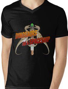 Dinosaurs on a Spaceship Mens V-Neck T-Shirt