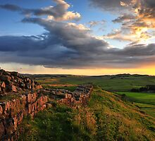 Hadrian's Wall on Cawfield Crags by Joan Thirlaway