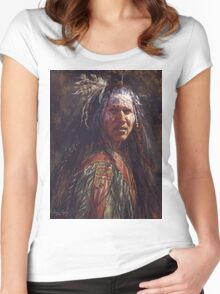 Ever Watchful, Crow, Native American Art, James Ayers Studios Women's Fitted Scoop T-Shirt