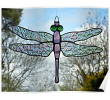 Stained glass Dragonfly Poster