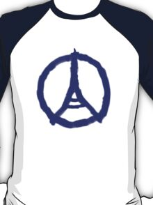 Eiffel Tower Peace Sign Hand Painted T-Shirt