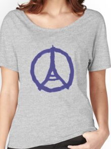 Eiffel Tower Peace Sign Hand Painted Women's Relaxed Fit T-Shirt