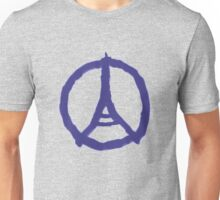 Eiffel Tower Peace Sign Hand Painted Unisex T-Shirt