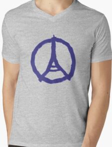 Eiffel Tower Peace Sign Hand Painted Mens V-Neck T-Shirt