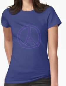 Eiffel Tower Peace Sign Hand Painted Womens Fitted T-Shirt