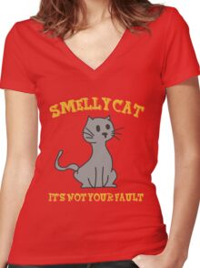 Smelly Cat Women's Fitted V-Neck T-Shirt