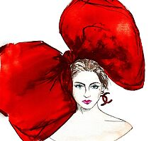 Big Red Bow -    watercolor Illustration - woman portrait  by dohakoma