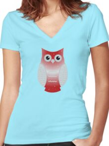Red Snow Owl Women's Fitted V-Neck T-Shirt