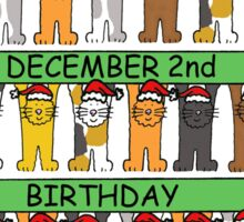 Cats celebrating December 2nd Birthday Sticker