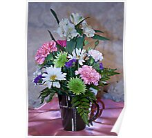 Morning Fresh Coffee and Flowers Poster