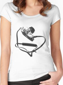 Digital camera isolated on white background DSLR Women's Fitted Scoop T-Shirt