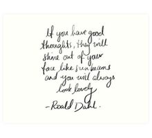 Roald Dahl inspirational tumblr quote merch! Art Print