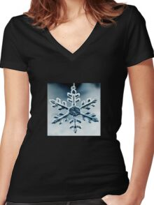 Snow Queen's Brooch Women's Fitted V-Neck T-Shirt