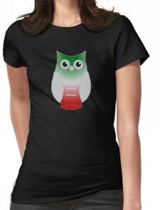 Red and Green Snow Owl Womens Fitted T-Shirt