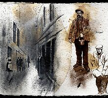 Altered Sketchbook Whitechapel Street & Workman by Cameron Hampton