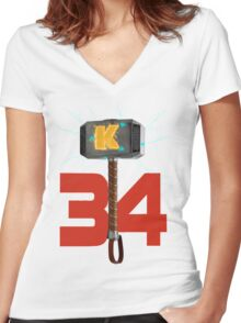Syndergaard's Hammer (w/ Blue K) Women's Fitted V-Neck T-Shirt