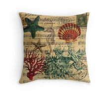 retro nautical ocean creature coral seashells  Throw Pillow