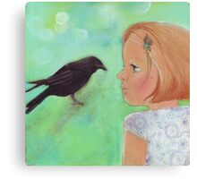 Girl and Raven: a love story Canvas Print
