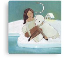 Love story: a bear and his girl Canvas Print