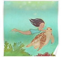 Girl and Turtle, swimming together Poster