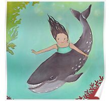 Girl and Whale, swimming together Poster
