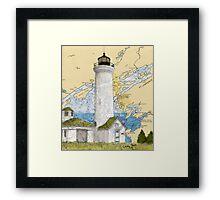 Tibbetts Pt Lighthouse NY Nautical Chart Peek Framed Print