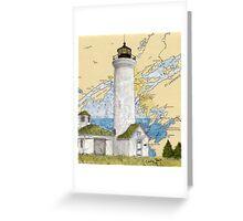Tibbetts Pt Lighthouse NY Nautical Chart Peek Greeting Card