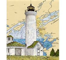 Tibbetts Pt Lighthouse NY Nautical Chart Peek Photographic Print
