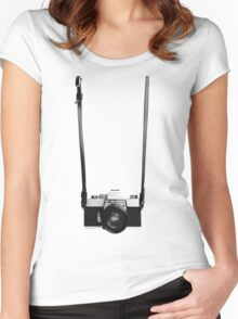 Digital camera isolated on white background DSLR on T-Shirt Women's Fitted Scoop T-Shirt