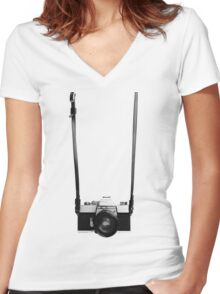 Digital camera isolated on white background DSLR on T-Shirt Women's Fitted V-Neck T-Shirt