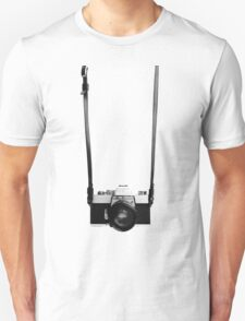 Digital camera isolated on white background DSLR on T-Shirt T-Shirt