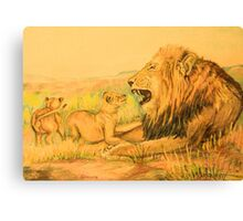 Lion and Cubs Oil Pastel Drawing Canvas Print