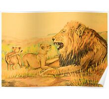 Lion and Cubs Oil Pastel Drawing Poster