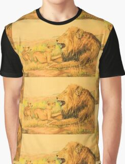 Lion and Cubs Oil Pastel Drawing Graphic T-Shirt