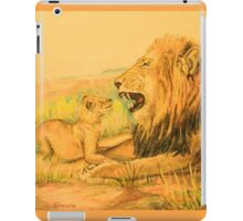 Lion and Cubs Oil Pastel Drawing iPad Case/Skin