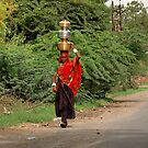 Woman Carrying Water On Head (Please Enlarge) by Charuhas  Images