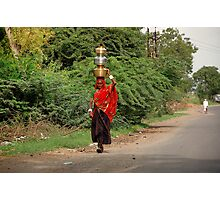 Woman Carrying Water On Head (Please Enlarge) Photographic Print