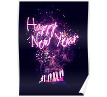 Happy New Year fireworks over Edinburgh Castle Poster
