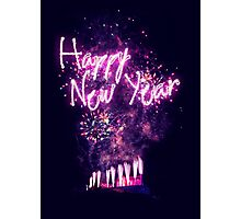 Happy New Year fireworks over Edinburgh Castle Photographic Print