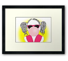 young girl with a bubble Framed Print