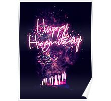Happy Hogmanay fireworks over Edinburgh Castle Poster