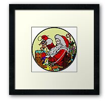 Vintage Santa and lots of toys (full color) Framed Print