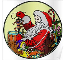 Vintage Santa and lots of toys (full color) Poster