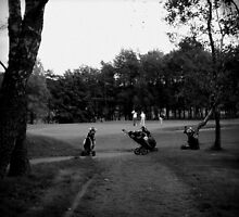 Golfers & Golf Carts by Chris Goodwin